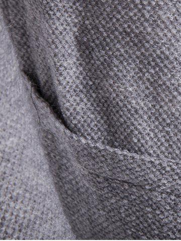 Cheap Pocket Texture Open Front Cardigan - 2XL GRAY Mobile