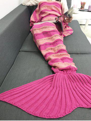Affordable Thicken Stripe Knitted Wrap Mermaid Tail Blanket - SANGRIA  Mobile