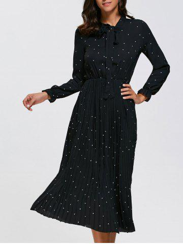 Affordable Long Sleeve Polka Dot Midi Pleated Dress