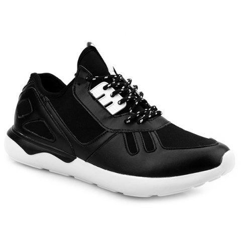 Colour Block Stretch Fabric Athletic Shoes - Black - 40