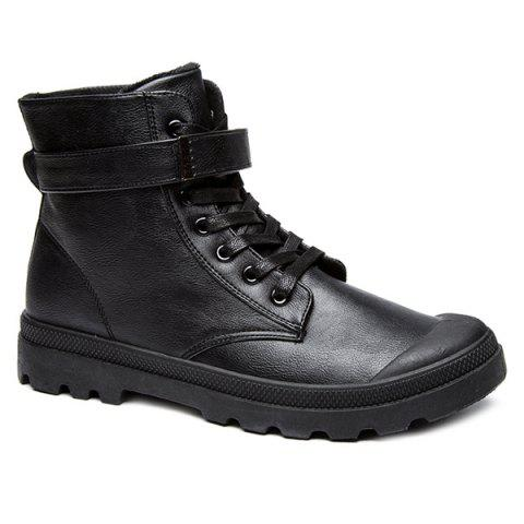 Latest Metal Tie Up PU Leather Boots
