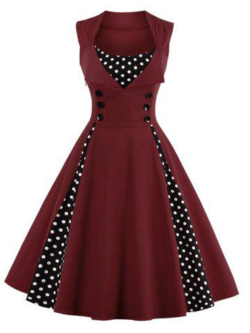 Store Polka Dot Retro Corset A Line Dress DARK RED 4XL