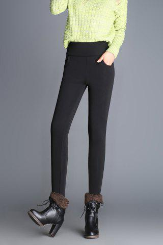 Slim Fit Wool Blend High Waist Pencil Pants - Black - S