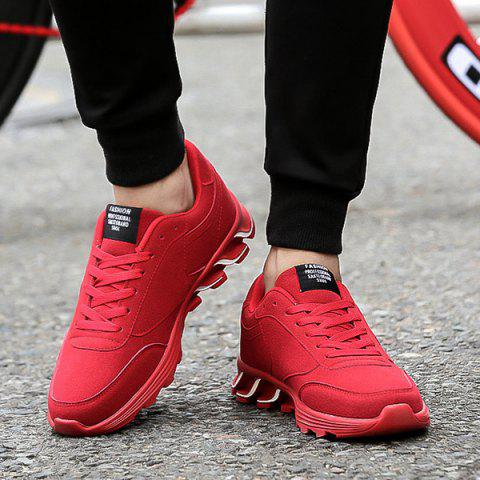 Buy Lace-Up Letter Pattern Suede Athletic Shoes - Red 44