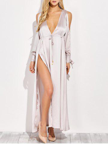 Chic Thigh Split Plunging Neck Maxi Dress