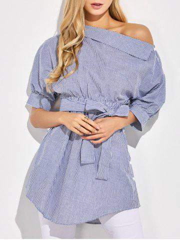 Unique One-Shoulder Belted Striped Casual Blouse