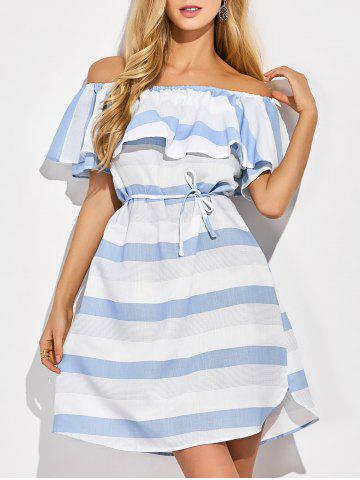 Online Off The Shoulder Striped Ruffles Dress