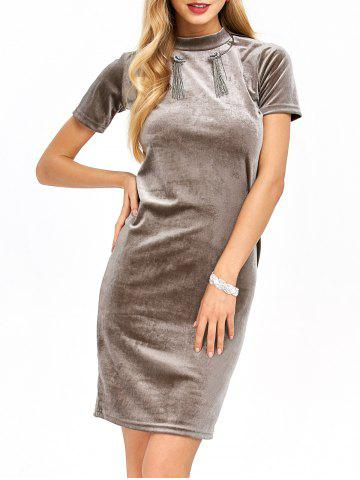 Mock Neck Velvet Pencil Midi Dress