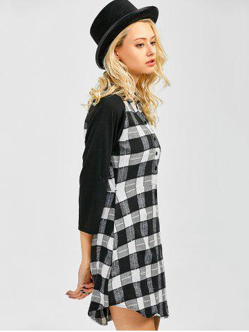 Fancy Lace Inset Checked Mini Shift Shirt Dress - XL CHECKED Mobile