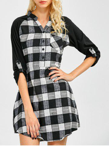 Chic Lace Inset Checked Mini Shift Shirt Dress CHECKED XL