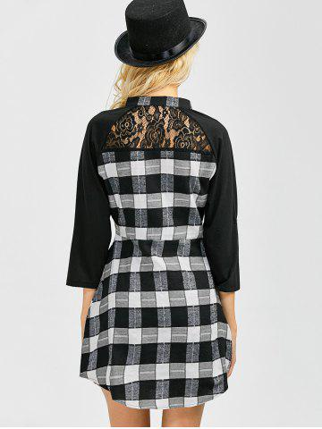 Trendy Lace Inset Checked Mini Shift Shirt Dress - XL CHECKED Mobile