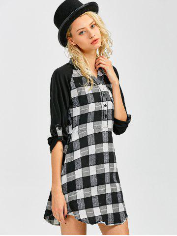 Discount Lace Inset Checked Mini Shift Shirt Dress - XL CHECKED Mobile