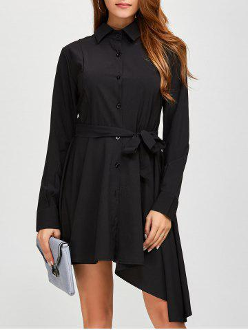Outfits Asymmetric Fitting Long Sleeve Dress