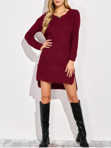 Unique High-Low Slit Sweater Dress WINE RED ONE SIZE