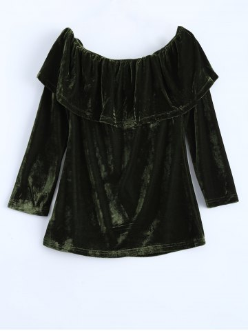 Best Off Shoulder Ruffles Velvet T-Shirt GREEN XL