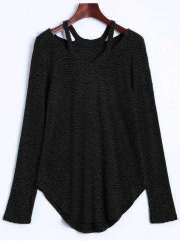 Cut Out V Neck Sweater - Black - Xl