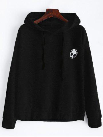 Chic Alien Patch Drawstring Hoodie - M BLACK Mobile