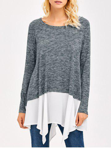 Heather Chiffon Trim Asymmetrical Tee - Grey And White - M