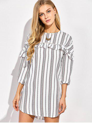 Unique Casual Round Neck Ruffles Striped Shift Dress with Sleeves WHITE S