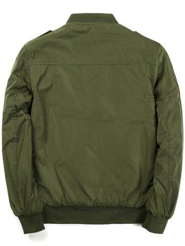 Fancy Badge Patched Zip Up Bomber Jacket - 3XL ARMY GREEN Mobile