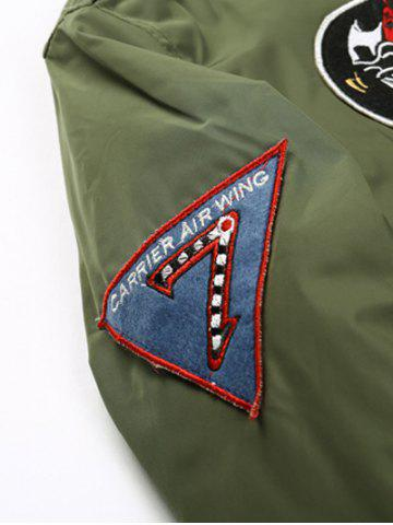 Store Badge Patched Zip Up Bomber Jacket - 3XL ARMY GREEN Mobile
