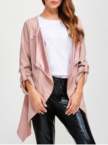 Drape Front Rolled Sleeve Coat - Pink - 5xl