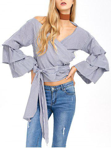 Latest V Neck Layered Sleeve Striped Wrap Blouse BLUE AND WHITE L