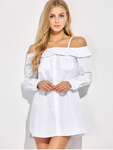Chic Button Up Bare Shoulder Blouse