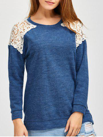 Slit Lace Spliced Loose Sweater - Blue - L
