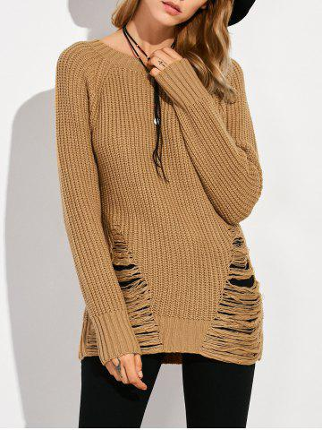 Sale Crew Neck Ripped Sweater