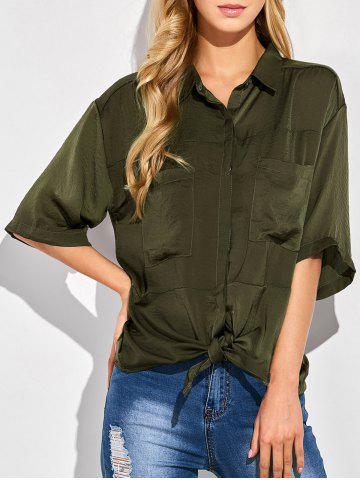 Cheap Tie Front Casual Shirt GREEN 2XL