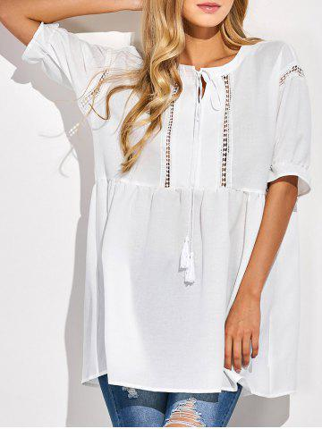 Trendy Cut Out String Loose Blouse WHITE 2XL