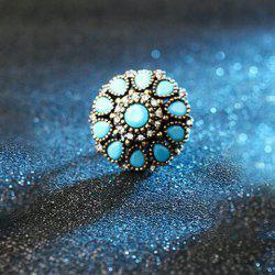 Enamel Water Drop Rhinestone Geometric Ring - LAKE BLUE