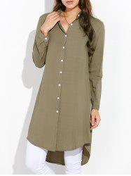 High Low Single Breasted Longline Embroidery Shirt - ARMY GREEN XL