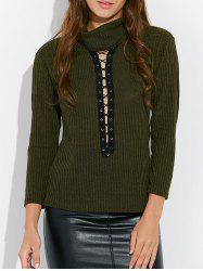 Lace Up Mock Neck Tee -