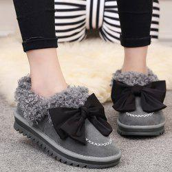 Bowknot Faux Lamb Wool Stitching Snow Boots