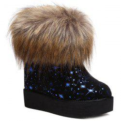 Star Printed Hidden Wedge Snow Boots -