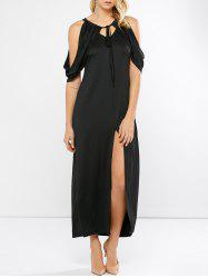 Keyhole Slit Open Shoulder Maxi Party Dress
