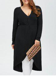 Plus Size Overlap Long T-Shirt