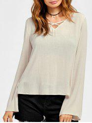 Lace Trim High Low Blouse -