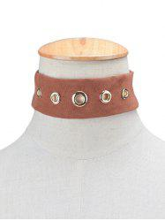 Rivet Suede Choker Necklace - BROWN
