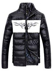 Zip Up Stand Collar Printed Quilted Jacket -
