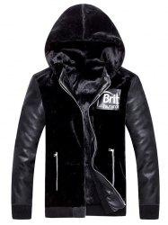 Applique Zip Up Hooded PU Panel Plush Jacket -