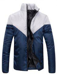 Stand Collar Zip Up Color Block Jacket -
