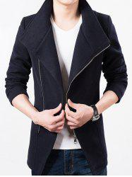 Stand Collar Side Zip Up Wool Blend Jacket -