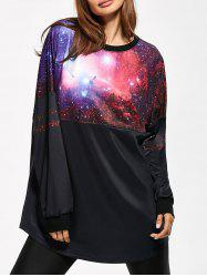 3D Galaxy Print Sweatshirt - BLACK