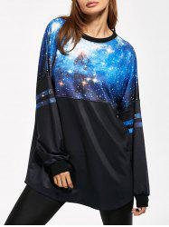 Striped 3D Galaxy Long Sweatshirt