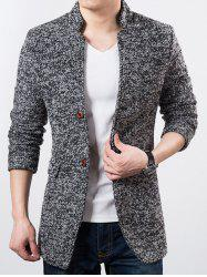 Mandarin Collar Heather Wool Blend Coat