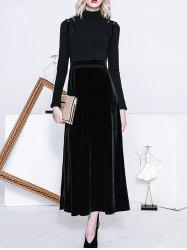 Maxi High Neck Long Sleeve Velvet Dress