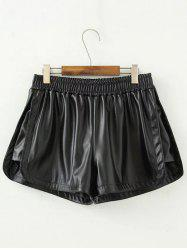 Plus Size Insert Faux Leather Shorts -